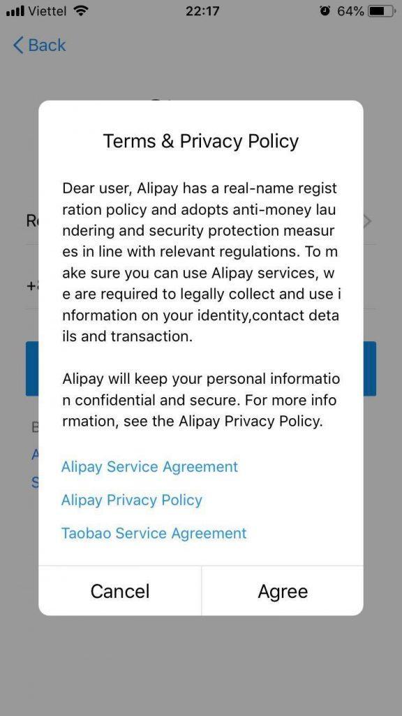 đồng ý điều khoản để đăng ký Alipay
